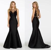Michael cinco vestidos Até O Chão Preto Querida Alta Neck Satin Mermaid Vestido de Dama de honra