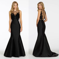michael cinco dresses Black Floor Length Sweetheart High Neck Satin Mermaid Bridesmaid Dress