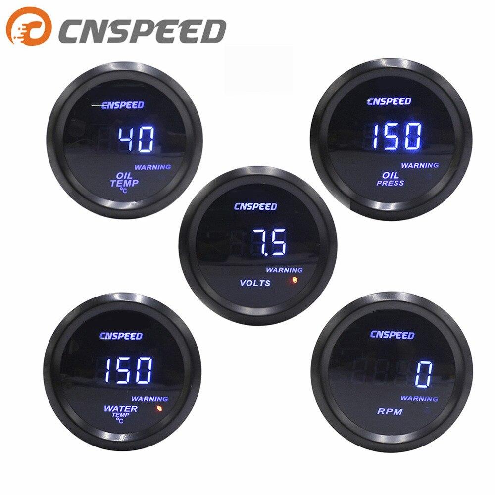 "CNSPEED 2"" 52mm Digital Turbine Car Pulse Meter Water Temperature PSI Oil Pressure Oil Gauge  Tachometer Voltmeter YC101332"
