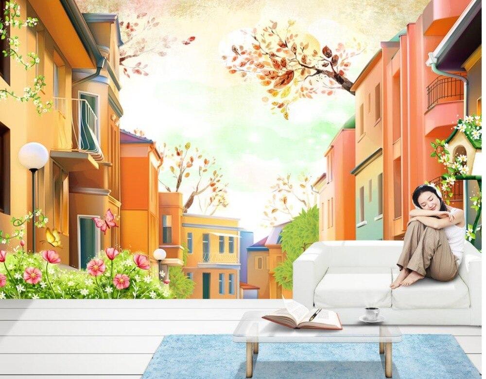 Пользовательские 3D Настенные обои поселка ручная роспись природа гостиная обои 3d картина