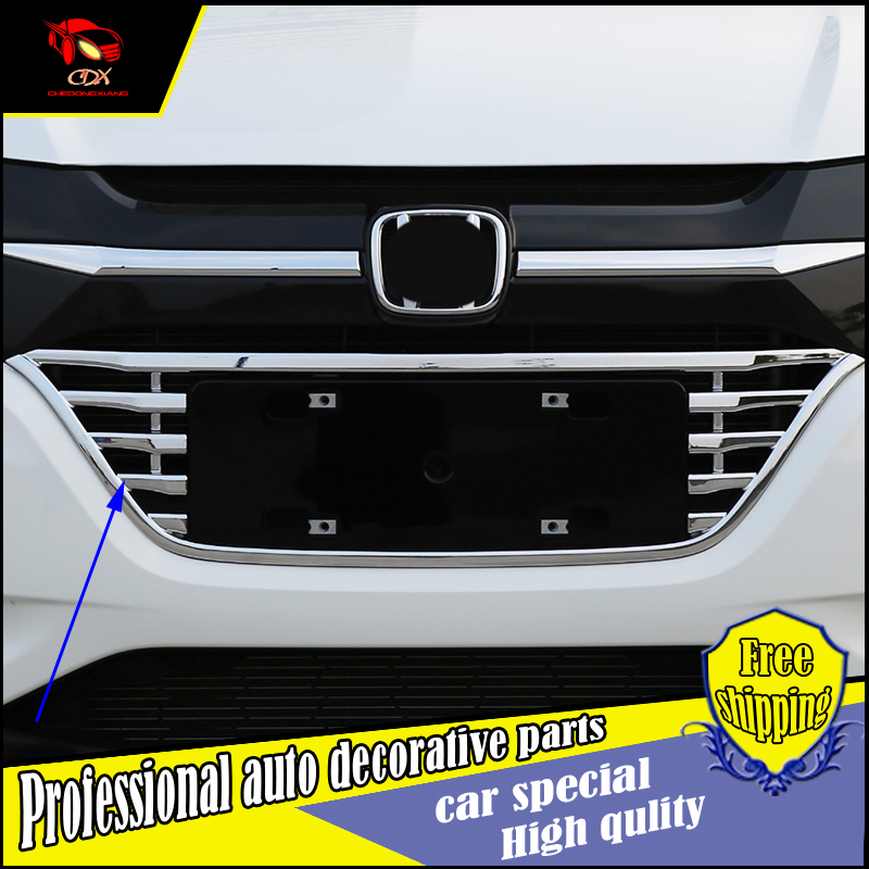 Car body protection detector ABS chrome trim Front up Grid Grill Grille Around 1pcs for Honda HR-V HRV Vezel 2014 2015 2016Car body protection detector ABS chrome trim Front up Grid Grill Grille Around 1pcs for Honda HR-V HRV Vezel 2014 2015 2016