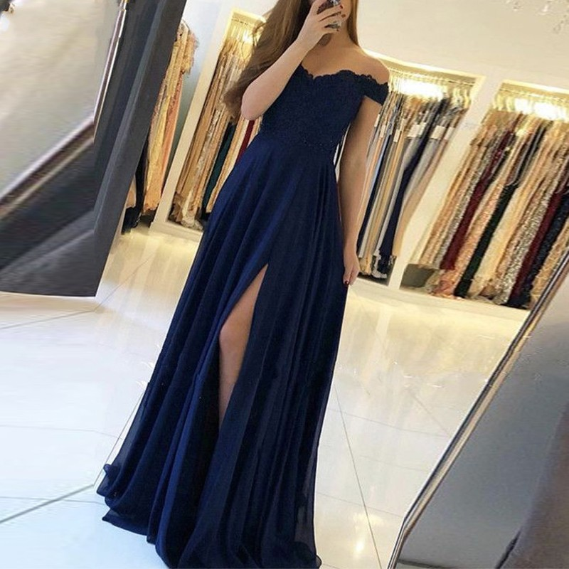 Robe de soiree Off The Shoulder A Line Navy Blue Lace   Evening     Dresses   Long 2019 Appliqued Slit   Evening   Gown Prom Party Gown