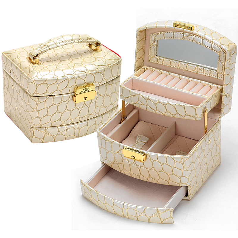 Luxury PU Leather Crocodile Grain Jewelry Box 3 Layers Fashion Jewellery Storage Box Packaging Case Organizer