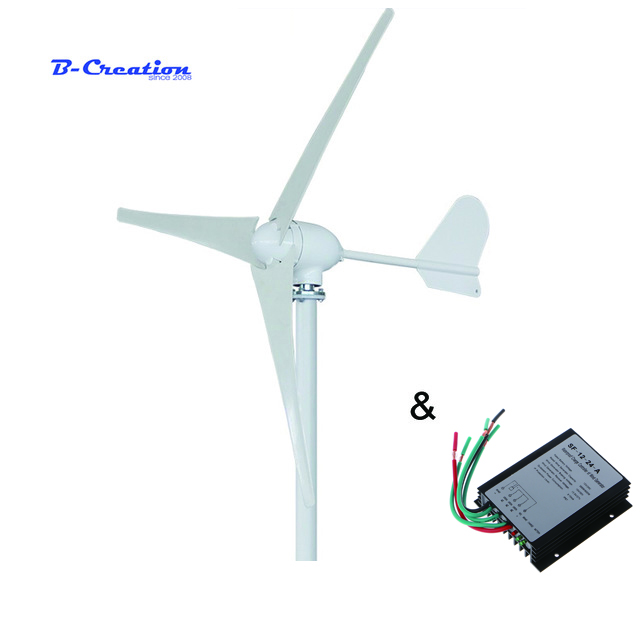 500 W 12 V/24 V/48 V 3/5 lâminas da turbina de vento horizontal gerador de uso doméstico + HOME USE 600 w controlador do carregador do vento à prova d' água