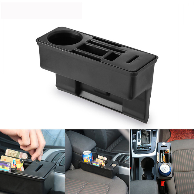 Car Seat Crevice Storage Organizer Console Side Pocket Auto Seat Gap Pocket Organizer with Coin Box and Water Cup Holder