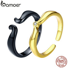 BAMOER Beauty Finger Ring for Women Golden Cubic Zirconia 925 Sterling Silver Couple Rings Female Fine Jewelry SCR521(China)