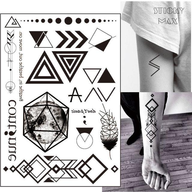 W07 1 Piece Geometric Tattoo With Triangle, Square, Planet, Semicolon,Lock Design Body Paint Waterproof Tattoos
