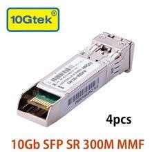 4Pcs 10Gb 300M SFP SR for SFP-10G-SR 10GBASE-SR Fiber Optic SFP+ Transceiver Module, MMF, 850nm for Ubiquiti Mikrotik etc.