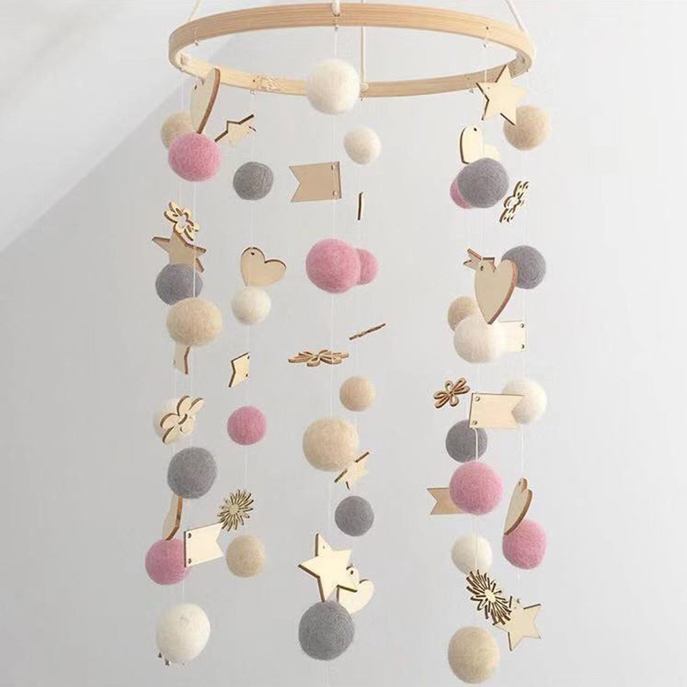 DIY Colorful Balls Bed Bell Baby Crib Holder Rattles Bracket Set Clockwork Music Box Material Package Mom Handmade Toys For Baby