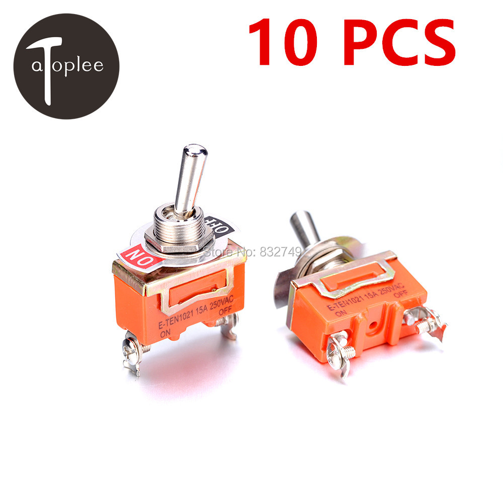 10 PCS KN1021 Touch On Off Switch 250V 15A Mini 2 Pins Toggle Switch For Conlling the Circuits of AC or DC gibson prtk 059 historic toggle switch caps 2 pcs