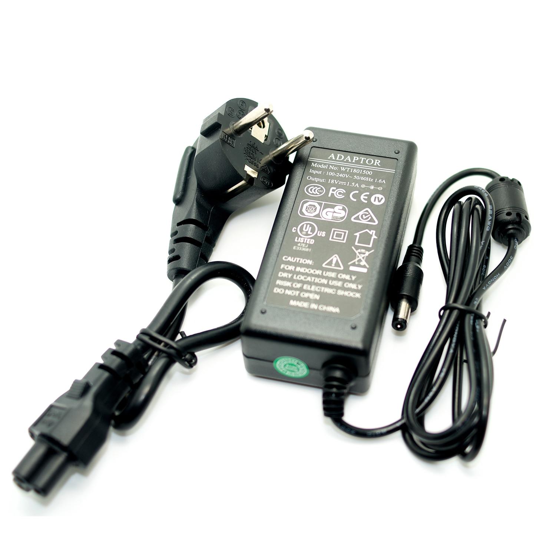 18V 1.5A Power Adapter Negative Center 1500mA Power Supply 100-240V Converter EU Plug F Type Noiseless For Guitar Effect Pedal autoeye cctv camera power adapter dc12v 1a 2a 3a 5a ahd camera power supply eu us uk au plug