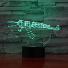 3D Led 7 Colors Changing Touch Button Usb Toy Machine Gun Molding Night Light Desk Lamp Living Room Decor Lighting Fixture Gifts