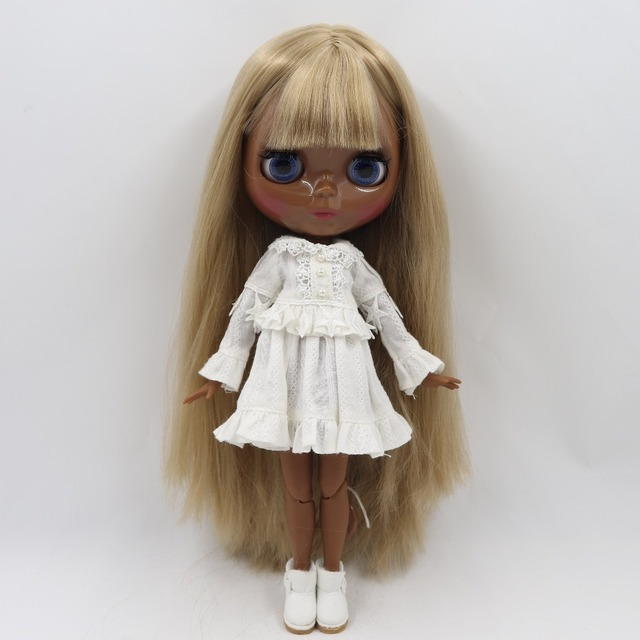 Blythe Doll From Factory Jointed Body Black Skin Matte Face Dark Brown Hair