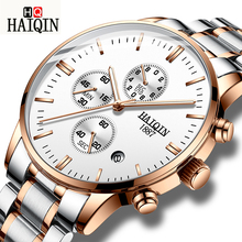 HAIQIN Quartz Watches Mens Business Chronograph Watch Waterproof Full Stainless Steel Wristwatch Calendar Sports Clock baogela chronograph black new watches mens quartz watch stainless steel mesh band slim men watch student sports wristwatch