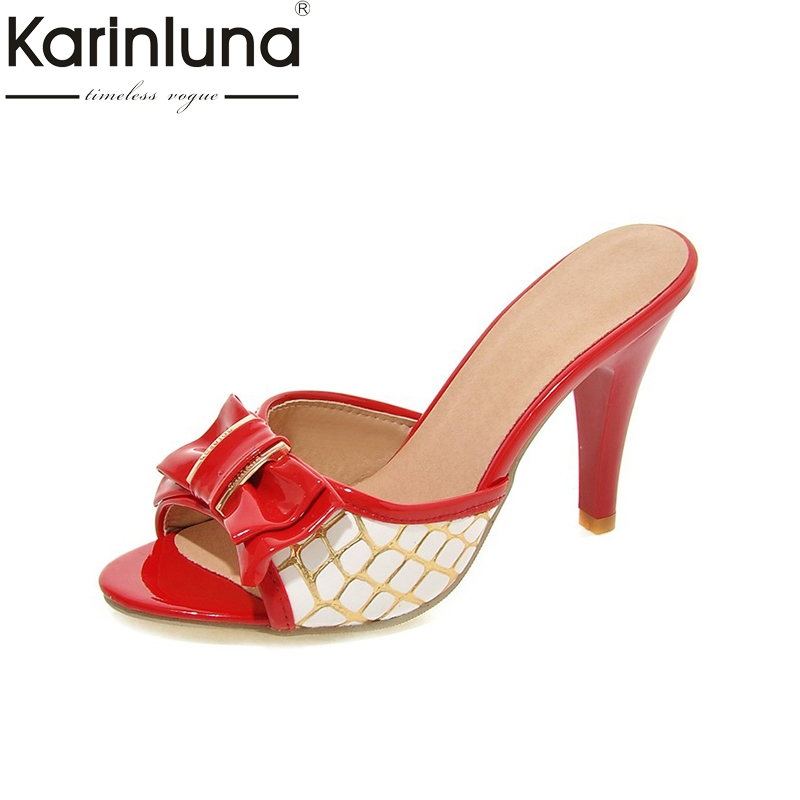 Karinluna 2018 Large Size 33-43 Peep Toe Bowtie Woman Pumps Thin High Heels Slip On Women Shoes Woman Summer Mules Shoes asumer large size 32 43 women pumps peep toe comfortable new arrive high quality rhinestone round toe thick heels summer shoes