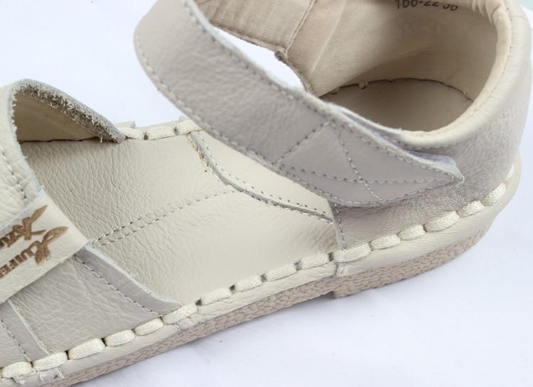 Baru 2016, Sandal Kulit Asli, sepatu putih buatan tangan murni, - Sepatu Wanita - Foto 6