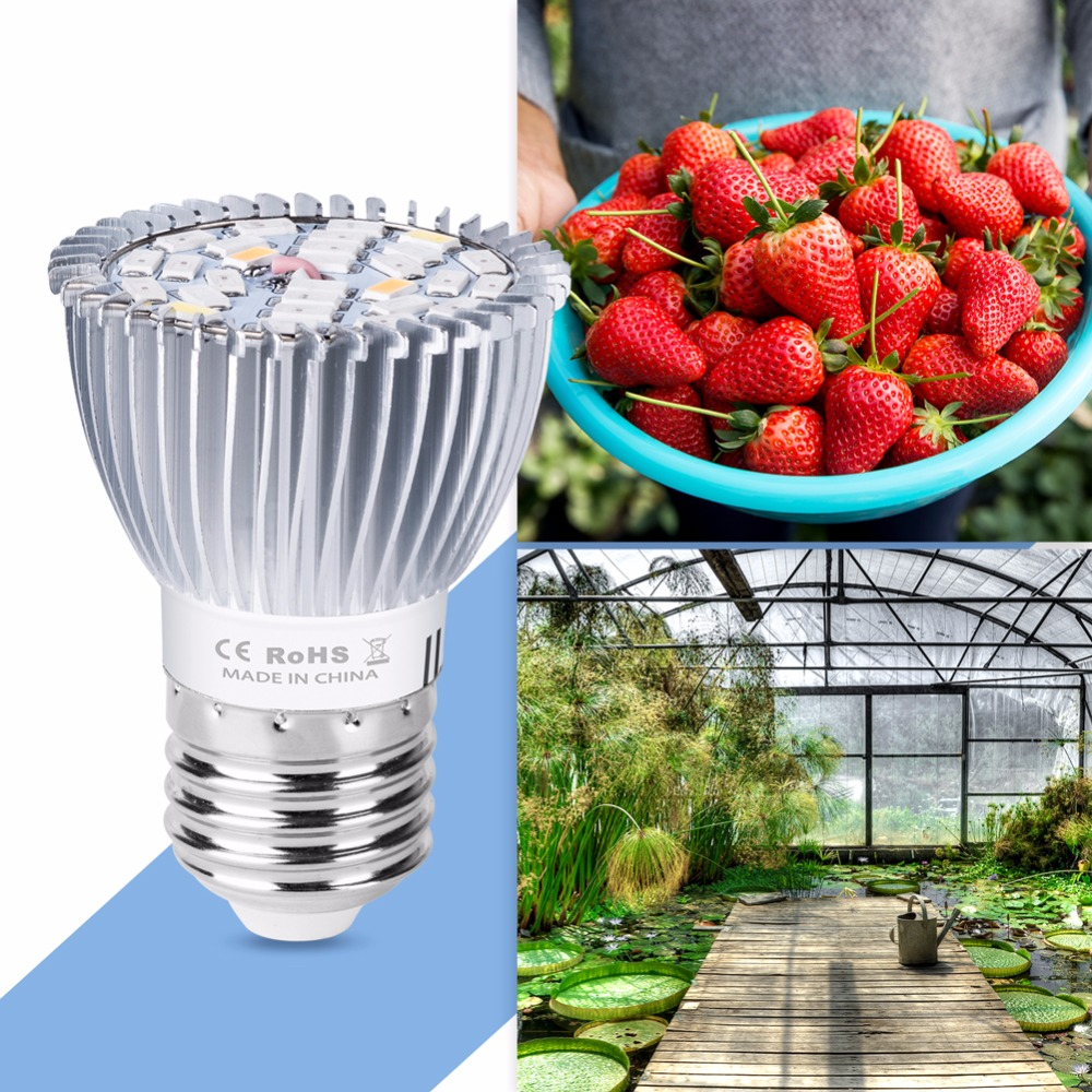 E27 Grow Light Led UV Lamp For Plants 220V Led Plant Growing Lamp E14 Indoor Plant Flower 110V Full Spectrum Led 28W 18W Growbox in LED Grow Lights from Lights Lighting