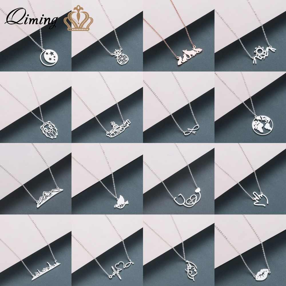 Stainless Steel Women's Necklace Crescent Moon Sunflower Infinity Wolf Lion Dove Bird Love Pendant Necklace Fashion Jewelry Gift