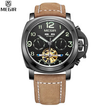 MEGIR Automatic Multifunction Perpetual Calendar Men Watch Military Sport Watch Relogio Masculino Leather Mechanical Watch