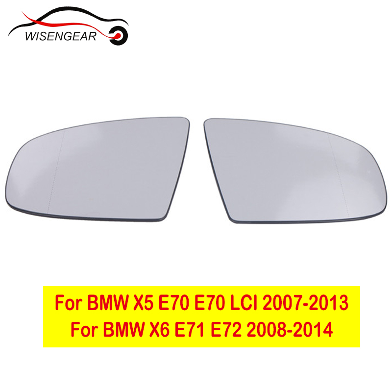 2 PINS LEFT PASSENGER SIDE BMW X6 E71 2008-2014 MIRROR GLASS WITH BASE
