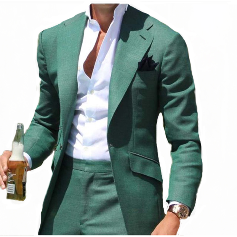 Męskie zielone jeden przycisk 2 sztuka garnitur męskie Slim Fit wesele Prom Groom smokingi Party kurtka spodnie na co dzień Notch Lapel marynarka w Garnitury od Odzież męska na  Grupa 1