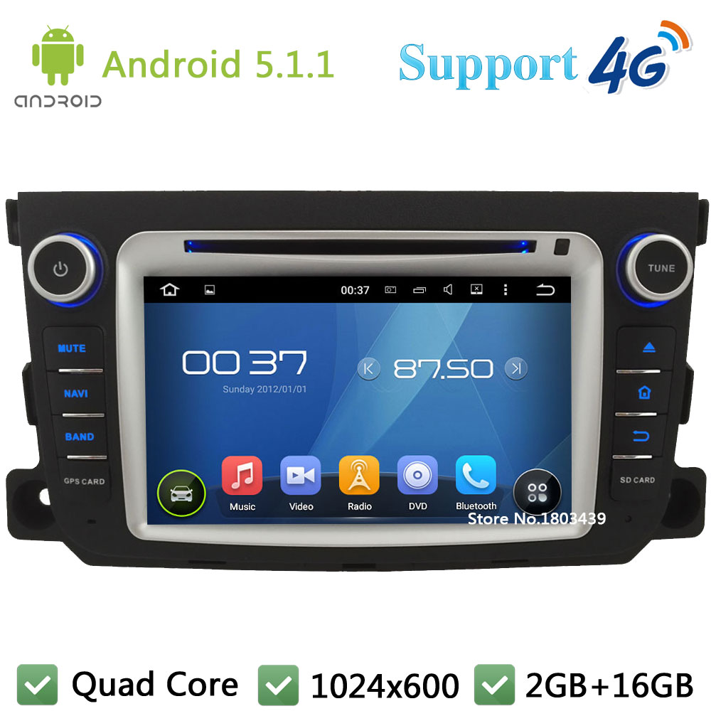 Quad Core 7″ HD1024*600 Android 5.1.1 Car DVD Player Radio Stereo 4G WIFI GPS Map BT FM For Mercedes-Benz Smart Fortwo 2011-2014