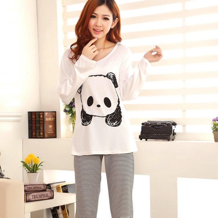 fe760db3fbe5 New 2015 Cotton Pijama Women Korean Pajamas Women Cute Homewear Cartoon  Panda Knitted Autumn And Winter Long sleeve Pajama Set