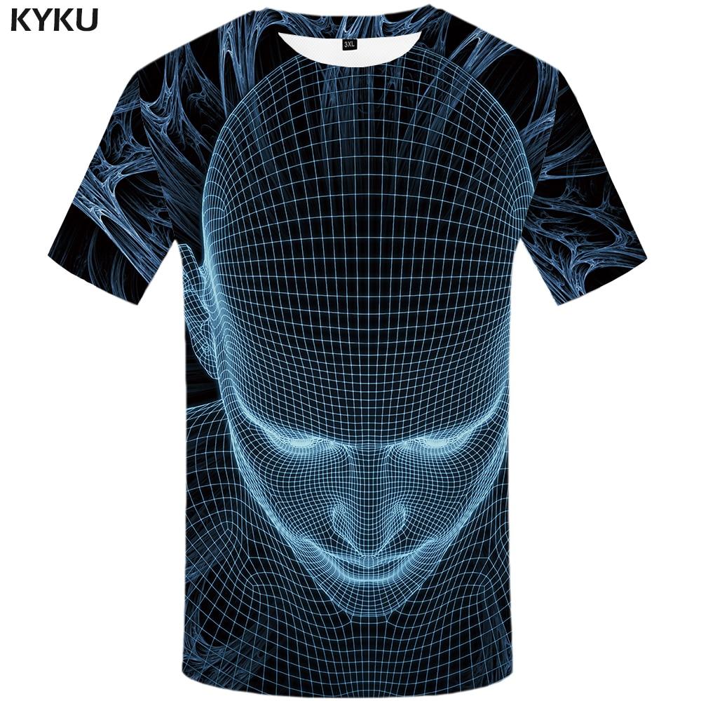 3619cfb0af93 KYKU Brand Skull T shirts Men Galaxy Space Tshirt Homme Geometric T shirt 3d  Cobweb Tshirts