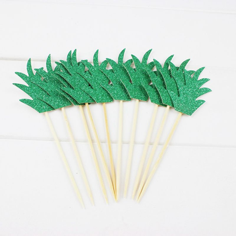10pcs Pineapple Leaf Cake Toppers Pineapple Leaves Cupcake Topper Hawaiian Luau Party Decoration (Deep Green) image