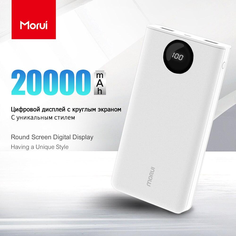 MORUI 20000 mah Puissance Banque PL20 Powerbank Mobile Téléphone Chargeur avec Ronde LED Affichage Numérique Intelligent Externe Batterie