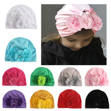 Yundfly Infant Newborn Caps with Shabby Chiffon Flowers Cotton Blend Kont Turban Girls Stretchy Beanie Hat Baby Hair Accessories