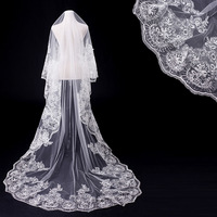 Fishday 2019 Appliqued Bridal Wedding Veil In Stock Lace Girls Long 3m White Cathedral Accessories Woman Femme Without Clip D30