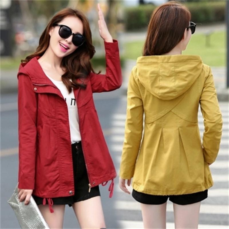 Women Jackets Fashion short jacket autumn New Korean short windbreaker fashion hooded casual slim cotton women