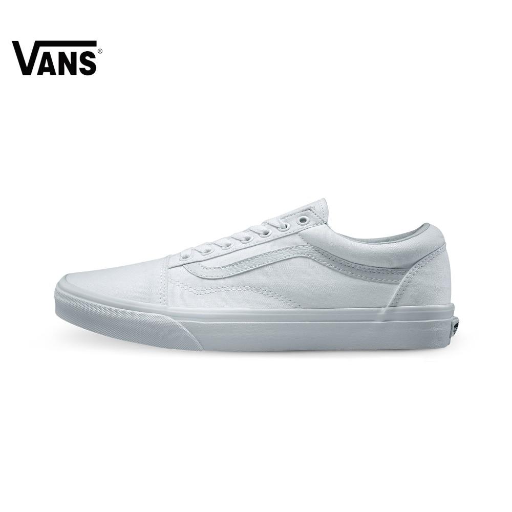 Vans Old Skool White Sneakers Low-top Trainers Unisex Men Women Sports Skateboarding Shoes Breathable Classic Canvas Vans Shoes vans кеды vans old skool navy us 4