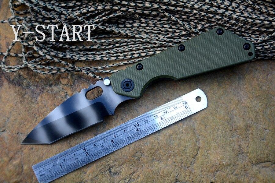 YSTART Tactique Couteaux RW-1 MARINE Rogue warrior couteau S35VN tigre bande lame Ti TC4 flamme texture Poignée Survie En Plein Air Couteau