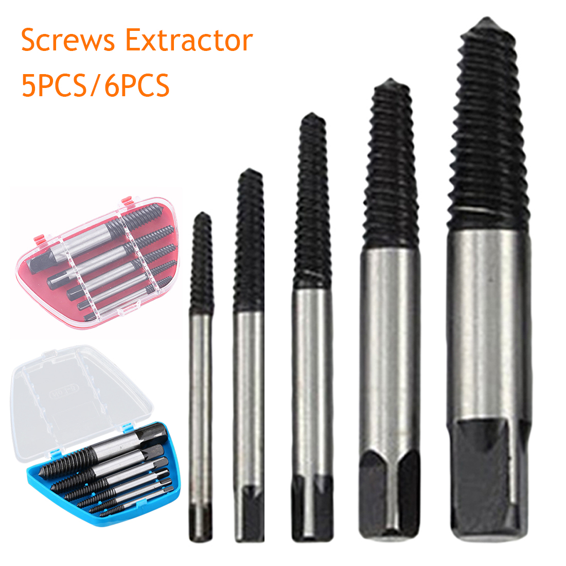 5Pcs Carbon Steel Broken Speed Out Damaged Screw Extractor Drill Bit Guide Set Broken Bolt Remover Easy Out Set