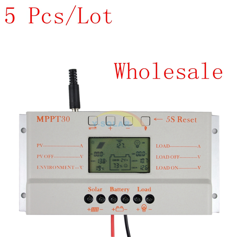 5PCS/LOT Wholesale MPPT30A Solar Controller 12V 24V Auto Work USB 5V Temp Sensor Solar Panel Battery LCD Charger Regulator diy 5v 2a voltage regulator junction box solar panel charger special kit