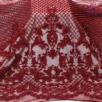 La Belleza New fashion design super heavy handmade beading crystl pearls Wine/gray/ivory/gold wedding dress lace fabric 1 yard