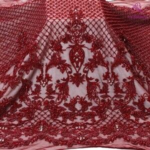La belleza novo design de moda super pesado feito à mão pérolas crysl vinho/cinza/marfim/ouro vestido de casamento tecido renda 1 quintal