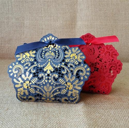 Red Gold White Royal Blue Wedding Decoration Laser Cut Wedding Candy