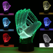 Colorful Baseball Gloves Visual 3D Illusion Night Light Color Change LED Table Lamp House Decoration Party Supplies
