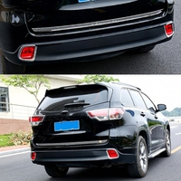 Car Styling 2 Pcs Chrome Rear Fog Light Lamp Cover Trim Fit For Toyota Highlander 2014