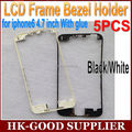 5 unids embellecedor frontal con pegamento caliente para iphone 6 4.7 pulgadas de Pantalla LCD Marco Medio Vivienda Piezas Chrome Holder Negro/blanco