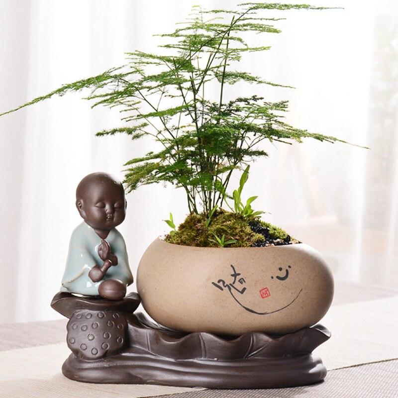 Pots absorbants bonsaï créatif Lotus chinois petit moine grès bouddha Zen hydroponique Pots de fleurs en pot décoration de chambre