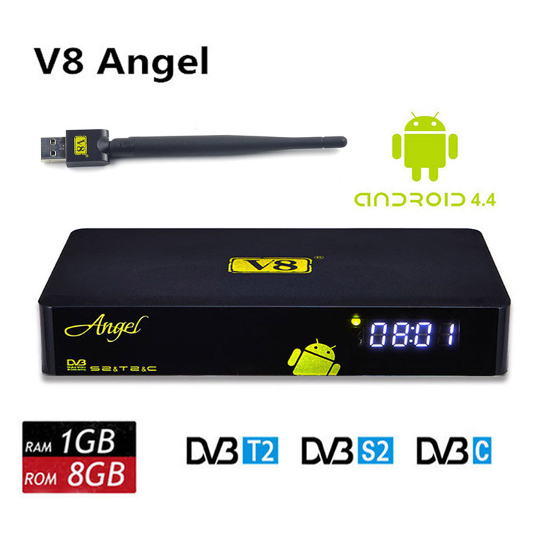 Freesat V8 Angel Android 4.4 TV BOX with DVB-S2 T2/C+USB WIFI with cccam OTT IPTV Live Receptor Satellite Receiver HD decoder wholesale freesat v7 hd dvb s2 receptor satellite decoder v8 usb wifi hd 1080p support biss key powervu satellite receiver