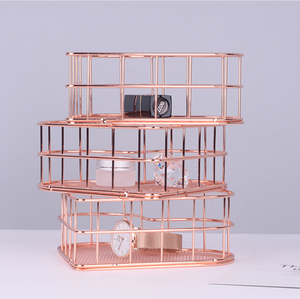 Image 5 - Heart shaped Golden Wrought Iron Storage Basket Simple Rose Gold Metal Baskets Storage Sundries Storages Fruit Basket