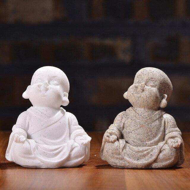 VILEAD 6cm 7cm Cute Little Monk Statue Sandstone Adorable Thailand Buddha Statuettes Lovely Figurine Home Decor Creative Gift 3