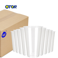 500pcs 34oz Clear Plastic Cups Beverage Milkshake Juice Glass with Double Hole Lid Disposable Tumblers Takeaway Party Supply