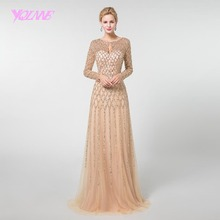 YQLNNE Unique Gold Long Sleeve Beading Evening Dress 2018 Illusion Straight Prom Gown Vestido De Festa Pageant Dresses