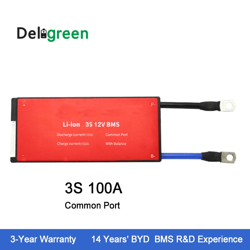 Deligreen 3S 100A 12V PCM/PCB/BMS for lithium battery pack 18650 Rated 3.7V Lithion Ion Battery Pack lto battery bms 5s 12v 80a 100a 200a lithium titanate battery circuit protection board bms pcm for lto battery pack same port
